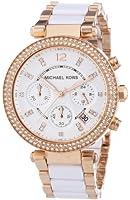 Michael Kors Parker White Dial Gold Tone SS Quartz Chrono Ladies Watch MK5774