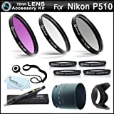 72mm Filter Kit Bundle For Nikon Coolpix P510 Digital Camera Includes Necessary Tube Adapter (72mm) + Multi-Coated 3 PC Filter Kit (UV CPL FLD) + Close Up Kit +1 +2 +4 +10 + Lens Hood + More