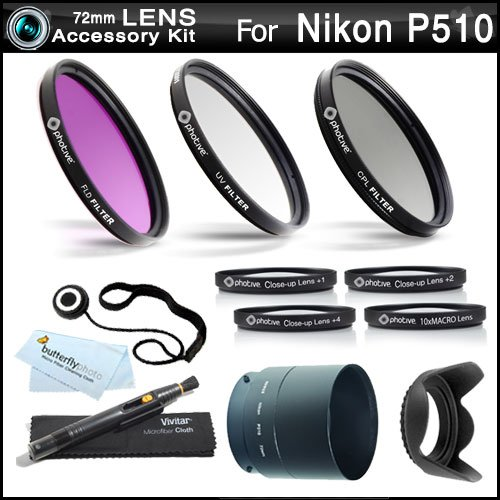 72Mm Filter Kit Bundle For Nikon Coolpix P510 Digital Camera Includes Necessary Tube Adapter (72Mm) + Multi-Coated 3 Pc Filter Kit (Uv, Cpl, Fld) + Close Up Kit +1 +2 +4 +10 + Lens Hood + Lens Cap Keeper + Microfiber Cleaning Cloth