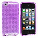 Purple Checker TPU Rubber Skin Case Cover New for Apple Ipod Touch iTouch 4th Generation Gen 4g 4 8gb 32gb 64gb - Electromaster(TM) Brand