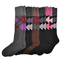 Angelina 6-Pair Angora Wool-Top French Terry Thermal Knee High Socks #2543_6