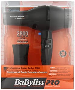 BaByliss Pro BABP2800 Porcelain Ceramic 2000-Watt Dryer, Black