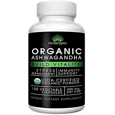Organic Ashwagandha - Best Natural Adrenal Supplement for Fatigue, Calm Nerves and Anti-Anxiety Relief - Pure Anti-Stress Herb Root which Lowers Cortisol Levels - 400mg Easy Swallow 120 Veg-Caps