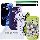 ECO-FUSED Samsung Galaxy S III MINI I8190 (T-Mobile,AT&T) Flowers hard case Combine Cover Bundle / Four Flowers hard case cover (White with green/Green/Purple with grey/Black) / Two Stylus Pens (Black / Green) / 2 Screen Protectors /1 Opening Tool/ Free