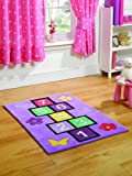 Multi Color Rug Kiddy Play Hopscotch Stylish Girly Design in Pure Polyester Pile 110cm x 160cm