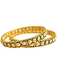 JFL - Traditional & Ethnic One Gram Gold Plated Flower, Floral Designer Bangle Set For Women & Girls