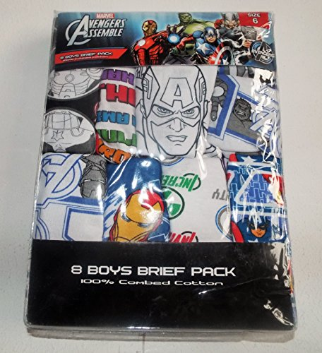 Boys 8 Pack of Marvel Avengers Assemble Briefs Underwear Pack, New Size 6