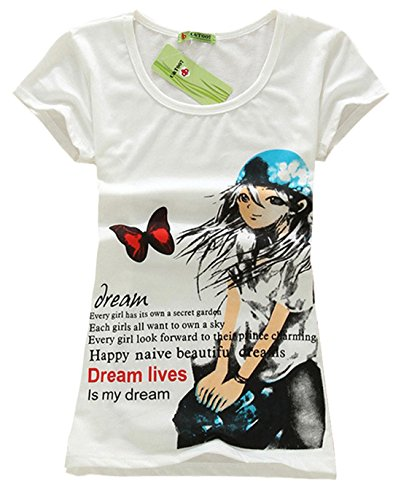 AM CLOTHES Womens Cotton Print Short Sleeve Top