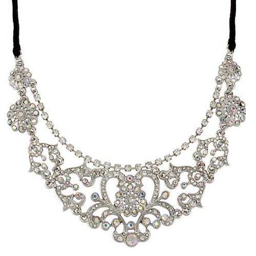 "Betsey Johnson Betsey Johnson STONE PEARL 2 Row Crystal Black Velvet 19"" Necklace"