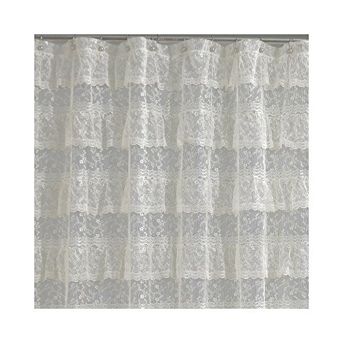 Lorraine Home Fashions Priscilla Shower Curtain, 70-Inch by 72-Inch, Ivory