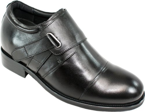 Calto - G5925 - 3 Inches Taller - Size 9 D Us - Height Increasing Elevator Shoes (Black Leather Cap-Toe Slip-On Dress Shoes)