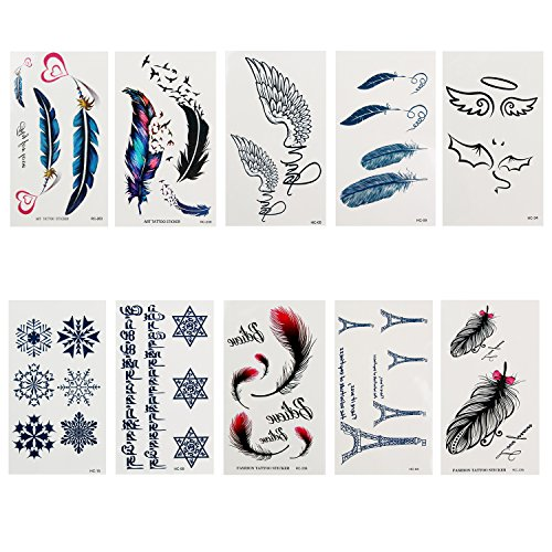 "Danibos Temporary Tattoo for Christmas Holloween Fashion Body Art Stickers Removable Waterproof Temporary Tattoo Holiday Decorate (3.95""X2.3"", feather1)"