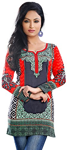Colorful-Indian-Kurti-Tunic-Top-Printed-Womens-Blouse-India-Clothes