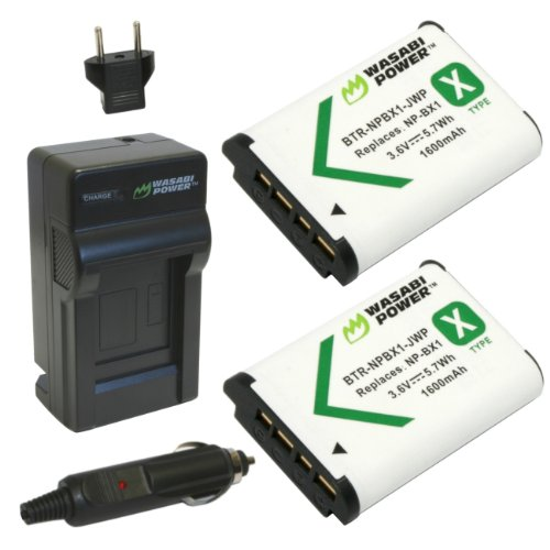 Wasabi Power Battery (2-Pack) and Charger for Sony NP-BX1 and Sony Cyber-shot DSC-HX50V, DSC-HX300, DSC-RX1, DSC-RX1R, DSC-RX100, DSC-RX100 II, DSC-WX300, HDR-AS10, HDR-AS15, HDR-AS30V, HDR-MV1