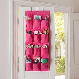 Tune Up 12 Pocket Hanging Door Holder Storage Organizer Closet Shoe Hanger Organiser Box (Hot Pink)