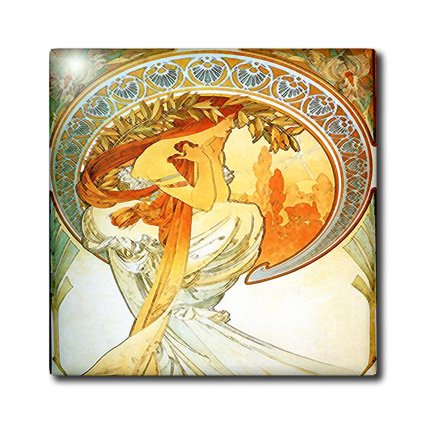 3dRose ct_153772_8 French Art Nouveau Muchas Poetry-Glass Tile, 12-Inch french poetry