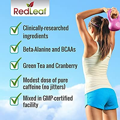Red Leaf Pre-Workout Energizer - #1 Best Tasting Fitness Supplement with Beta-Alanine, BCAAs, Glutamine, L-Arginine, Green Tea, Raspberry Ketones - Natural Cranberry Lime Flavor - 30 Servings