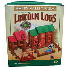 Lincoln Logs Happy Valley Farm - 211 Real Wood Pieces