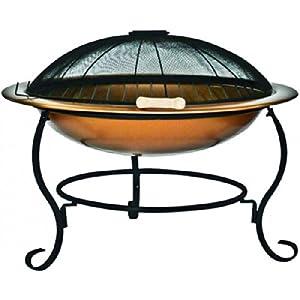 feuerschale mit grill aus stahl kupfer finish kupferschale feuerstelle garten feuer schale d. Black Bedroom Furniture Sets. Home Design Ideas