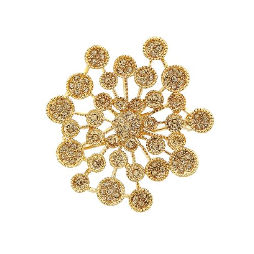 Neoglory Fashion Brooches with Auden Rhinestones Snowflake Jewelry 14k Gold Plated Christmas Gift