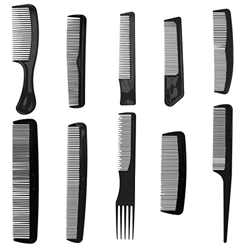10pc Plastic Hair Combs - Variety Pack - Great for All Hair Types & Styles (Black Men With Pompadour)