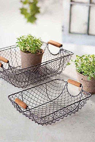 Vagabond Vintage, Set of Three Nesting Wire Baskets with Wooden Handles 1
