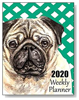 Pug 2020 Dated Weekly Planner - A fun canine-themed planner to help any dog lover stay organized and keep track of activities on a daily, weekly, and monthly basis from January to December 2020.