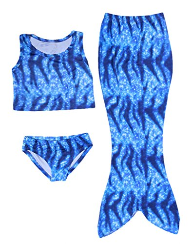 Hengsong 3Pezzi Ragazze Costumi da bagno Sirena Bikini set Mermaid Costume Bambini(140,Blu)