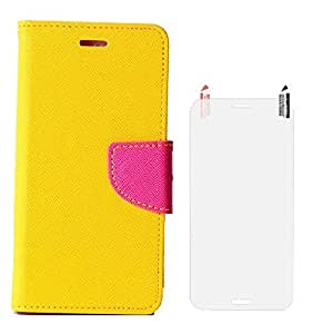 YGS Premium Dairy Wallet Case Cover ForApple iPhone 5 -Yellow Pink With Screen Guard