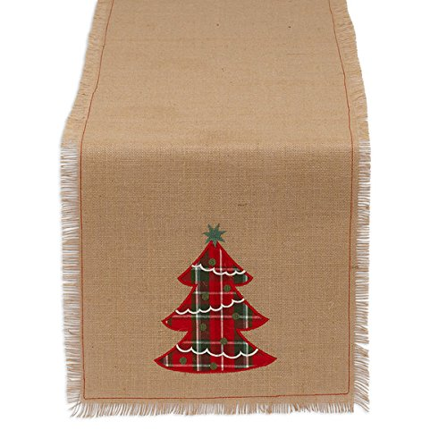DII 100% Jute, Holiday Embroidered Tree, 14 x 72