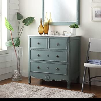 ... 34u201d Cottage Look Daleville Bathroom Sink Vanity   Model HF081Y (Vintage  Mint Blue)