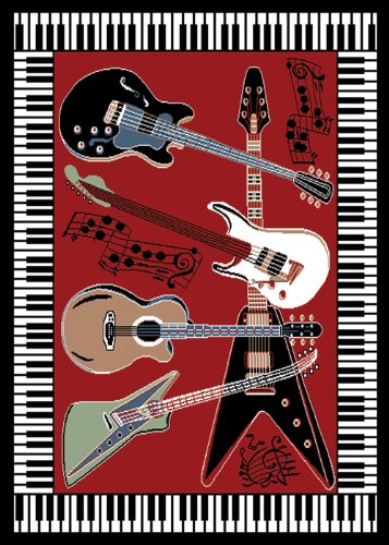 Home Dynamix Zone 7541-200 Red 1ft. 9in. by 7ft. 2in.  Piano/Guitar Area Rug