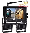 Digital Wireless Rear View Backup Camera System, 7 Wireless Split LCD Monitor with Two Wireless Waterproof Ir Color Cameras for Excavator, Cement Truck, Farm Tractor, Trailer, 5th Wheel, Rv Camper, Heavy Truck