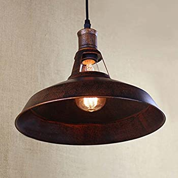 BAYCHEER HL421217 Industrial Retro Vintage style 12'' Wide Small Single Light Pendant Light Lampe Chandelier in Antique Copper use E26/27 Bulb