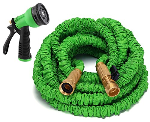 Gardees tm 100 feet expandable garden hose with solid brass connectors 8 pattern spray nozzle Expandable garden hose 100 ft