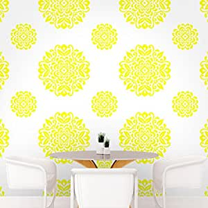 DeStudio Floral Circle Tile Chalkboard Wall Decal, Size SMALL & Color : YELLOW