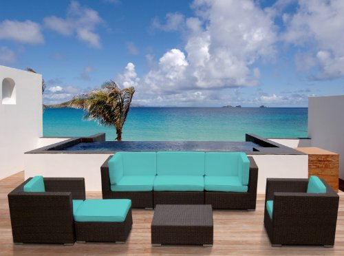 Outdoor Patio Wicker Furniture Sofa Sectional 7pc Resin Couch Set photo