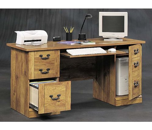 Bishop Pine Computer Desk Cottage Home Collection by Sauder Office Furniture - 128942