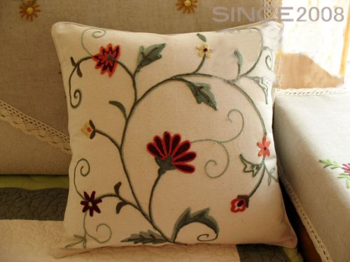 Hand Woollen Embroided Flowers vine Cushion Cover/Pillow