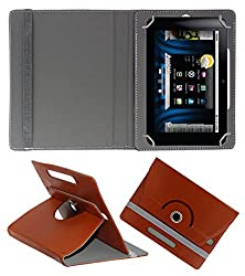 ACM ROTATING 360° LEATHER FLIP CASE FOR BASLATE 72S TABLET STAND COVER HOLDER BROWN