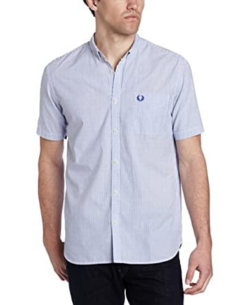 Fred perry men 39 s short sleeve seersucker stripe shirt at for Mens short sleeve seersucker shirts