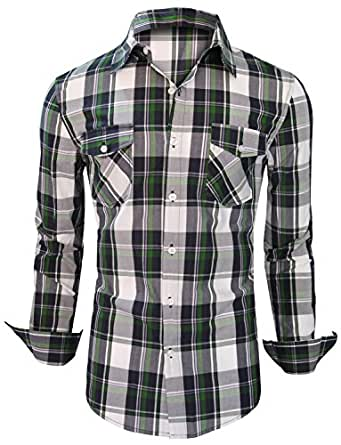 Stylish Check Mens Casual Slim fit Dress Shirts Fine Colletion