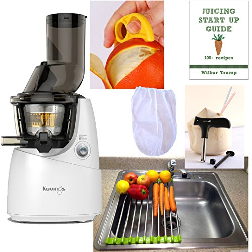 Kuvings WHITE Whole Slow Juicer Combo Pack 3 + Folding Drain Rack + Nut Milk Bag + Juicing eBook,recipes + Cocodrill Coconut Tool + Citrus Peeler - Heavy Duty Vertical Single Auger Low Speed Juicing B6000W