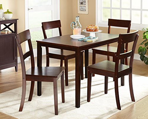 Target Marketing Systems Ian Collection 5 Piece Indoor Kitchen Dining Set with 1 Dining Table, 4 Chairs, Espresso (Kitchen Table And Chairs For 4 compare prices)