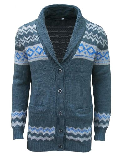 Brave Soul Men's Shawl Neck Aztec Fashion Cardigan Jumper Knit Top Dark Grey / Light Grey / Blue Small