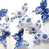 36pcs 3D Wall Sticker, Beautiful White Spots Flower Butterfly Decor Wall Decals, Removable Diy Home Decorations...