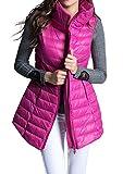 (ホンタ)HONTA レデイーズ秋冬新着、暖かくて柔らかい素材のダウンベスト、スタントカラー 無地 膝丈 ノースリーブ 収納可 暖かいジャケット、フェザーの軽いと薄いダウンベスト バラ色