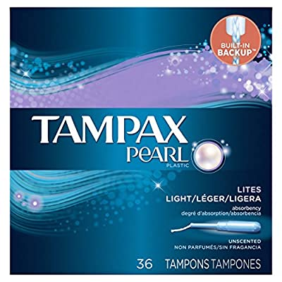 Tampax Pearl plastic, Lites / Light Absorbency, Unscented Tampons, 36 Count