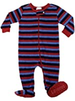 """Leveret Footed """"Striped Blue & Green"""" Fleece Pajama Sleeper (Size 6m-5t)"""
