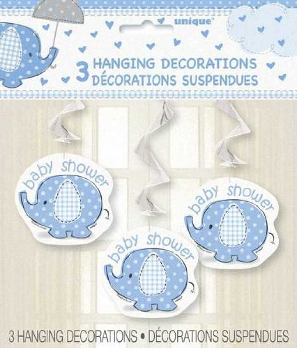 Elephant Baby Shower 3 Count Hanging Decorations, Blue, White And Gray
